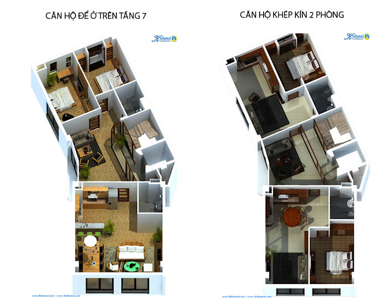 Thiết kế biệt thự 7 tầng kết hợp cho thuê căn hộ bởi Văn phòng kiến trúc Ktshanoi