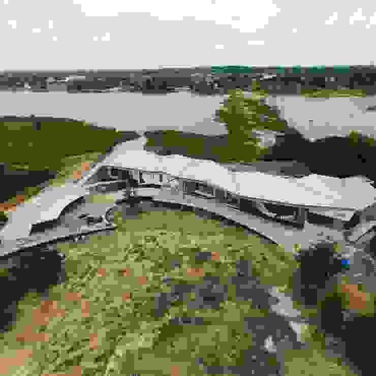 Dronview บ้านริมน้ำ กำแพงเพชร โดย ศูนย์รับสร้างบ้านอินเตอร์โฮม โดย อินเตอร์โฮมพรอพเพอร์ตี้ โมเดิร์น คอนกรีต