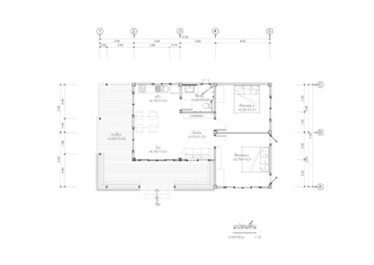 แบบบ้านชั้นเดียว TR1-34 โดย homeplan360d