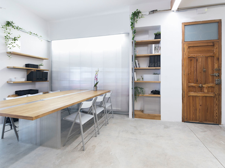 Eseiesa Arquitectos ห้องทำงาน/อ่านหนังสือ White