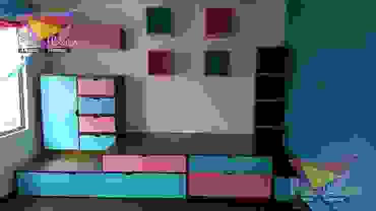 Practica y moderna recamara con plataforma de camas y literas infantiles kids world Moderno Derivados de madera Transparente