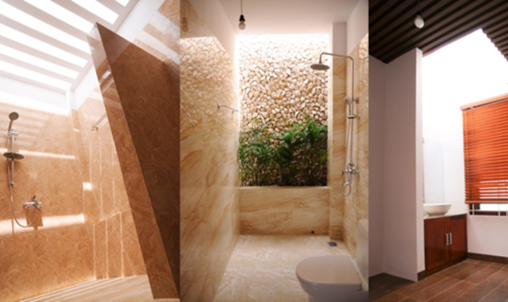 Thiết Kế Nhà Ống 3 Tầng Hướng Nội, Chan Hòa Với Thiên Nhiên Công ty TNHH Xây Dựng TM – DV Song Phát Phòng tắm phong cách hiện đại