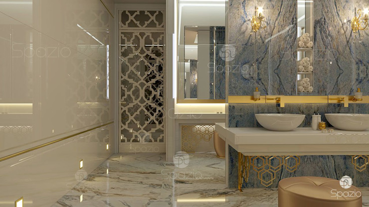 ​Luxury master bathroom design project in modern home in Dubai Spazio Interior Decoration LLC 現代浴室設計點子、靈感&圖片 大理石 Amber/Gold