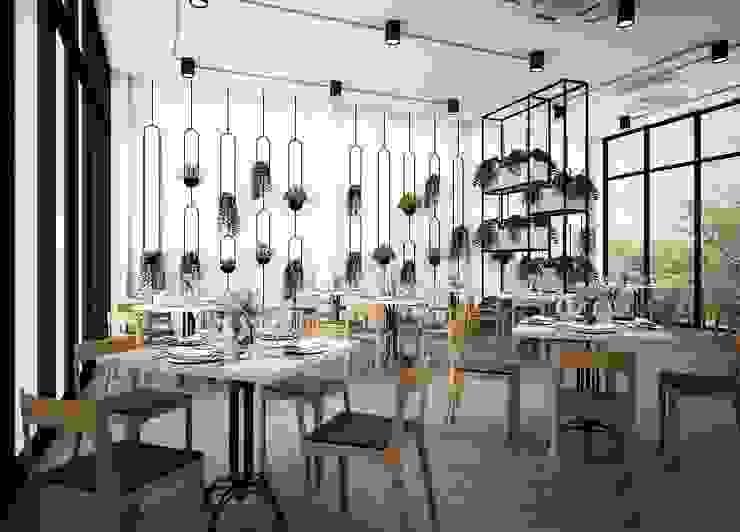 Zero field design studio Industrial style dining room