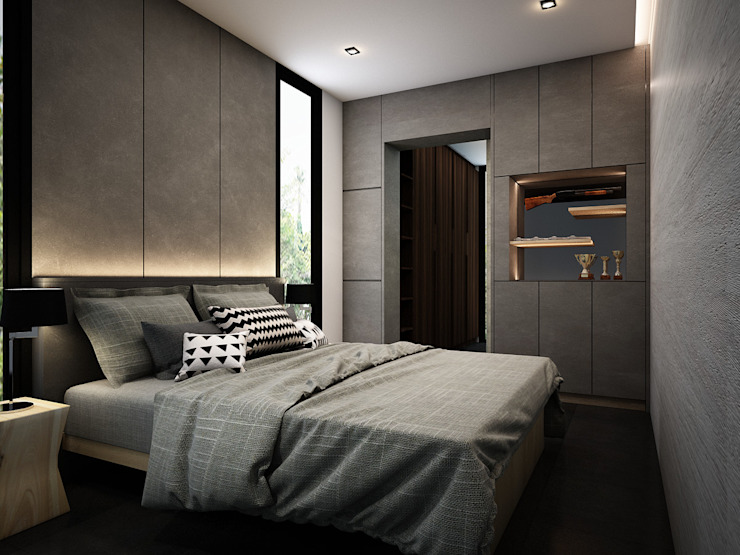 Zero field design studio Minimalist bedroom Grey