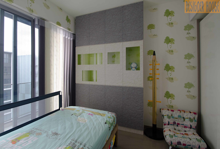 Common Room Designer House Modern style bedroom Wood-Plastic Composite Green