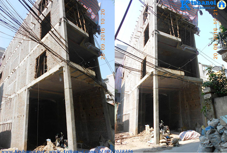 Thiết kế nhà phố 5x18m 7 tầng cho thuê căn hộ bởi Văn phòng kiến trúc Ktshanoi