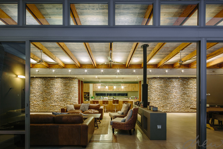modern lodge Modern living room by drew architects + interiors Modern Wood Wood effect