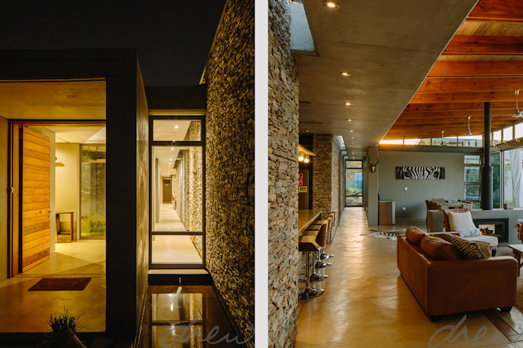 modern lodge Modern Corridor, Hallway and Staircase by drew architects + interiors Modern Stone