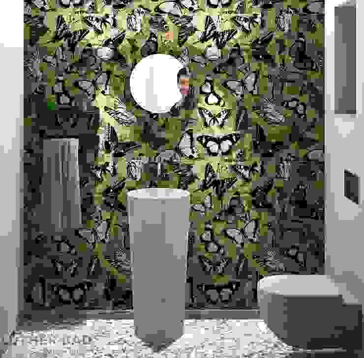Gäste Toilette mit Tapete, Perspektive01: modern  von LUTHER BAD,Modern Metall