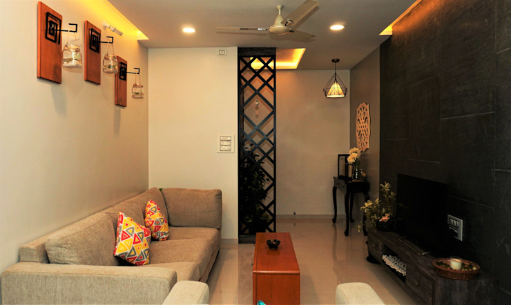 2BHK, Ganga Glitz, Undri Design Evolution Lab Colonial style living room