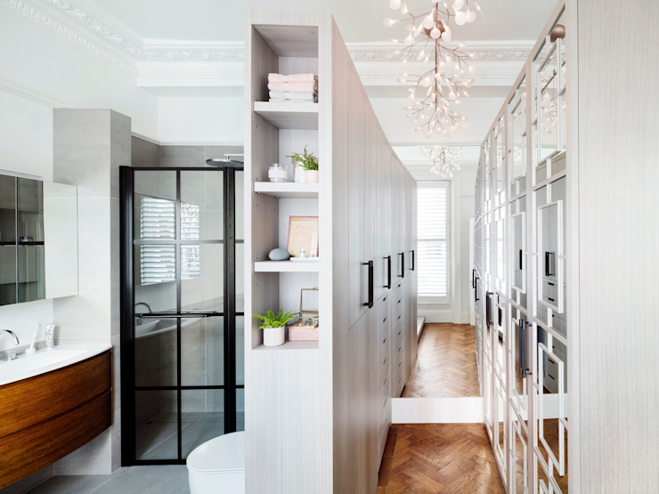 master bathroom and dressing area Moderne Badezimmer von Brosh Architects Modern