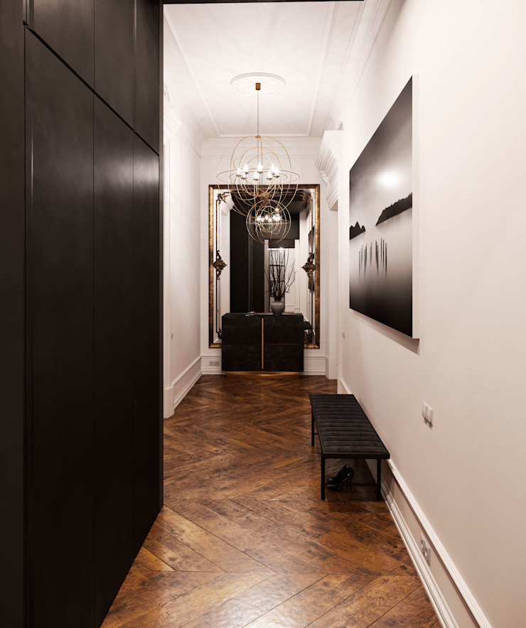 Grynevich Architects Eclectic style corridor, hallway & stairs