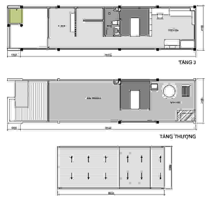 Bản vẽ thiết kế mặt bằng các tầng mẫu thiết kế nhà ống 3 tầng 1 tum bởi Công ty TNHH Xây Dựng TM – DV Song Phát Hiện đại