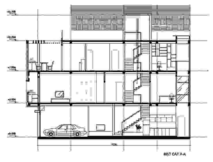 Bản vẽ mặt cắt mẫu thiết kế nhà ống 3 tầng 1 tum bởi Công ty TNHH Xây Dựng TM – DV Song Phát Hiện đại