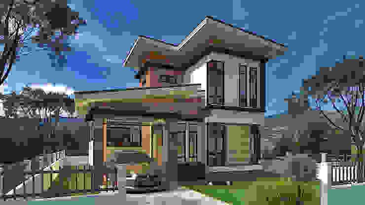 บ้านพักอาศัยสองชั้น โดย แบบบ้านออกแบบบ้านเชียงใหม่ โมเดิร์น
