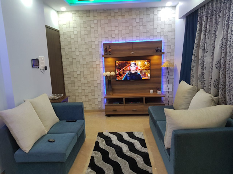 t.v unit and wall paper Modern living room by homify Modern