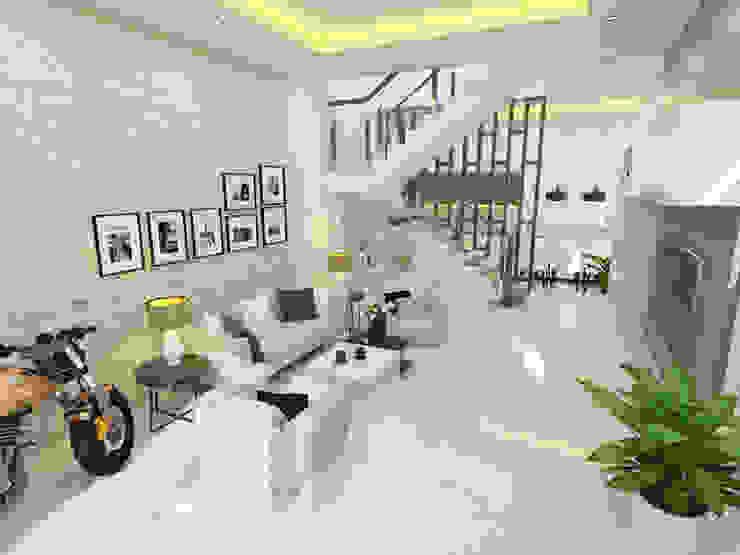 Không gian sinh hoạt chung với thiết kế nội thất sang trọng, tiện nghi bởi Công ty TNHH Xây Dựng TM – DV Song Phát Hiện đại