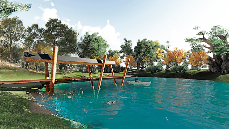 Muelle para laguna artificial de casa Casas estilo moderno: ideas, arquitectura e imágenes de NEF Arq. Moderno