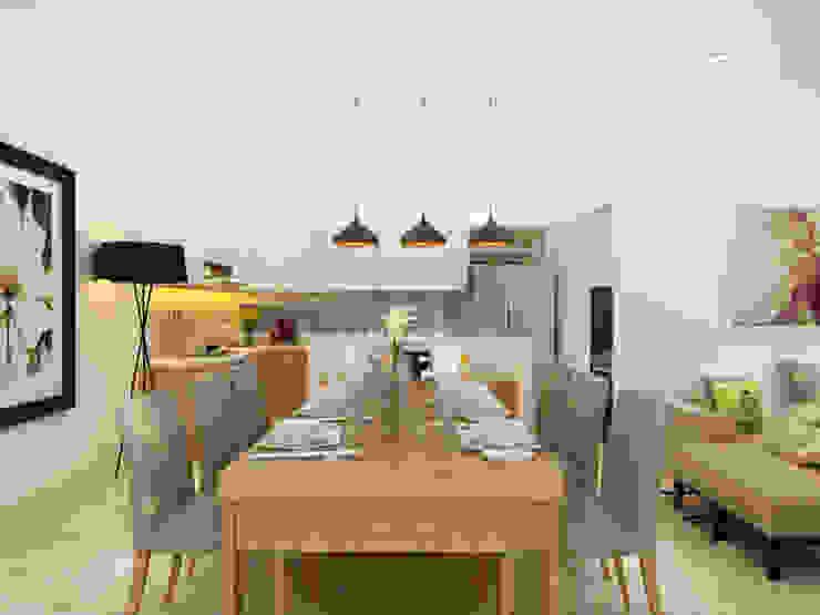 Thiết Kế Nhà 1 Tầng 3 Phòng Ngủ Chỉ Với 800 Triệu Phòng ăn phong cách hiện đại bởi Công ty TNHH Xây Dựng TM – DV Song Phát Hiện đại