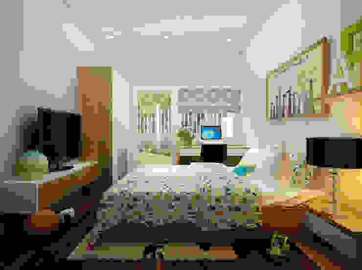 Thiết Kế Nhà 1 Tầng 3 Phòng Ngủ Chỉ Với 800 Triệu Phòng ngủ phong cách hiện đại bởi Công ty TNHH Xây Dựng TM – DV Song Phát Hiện đại