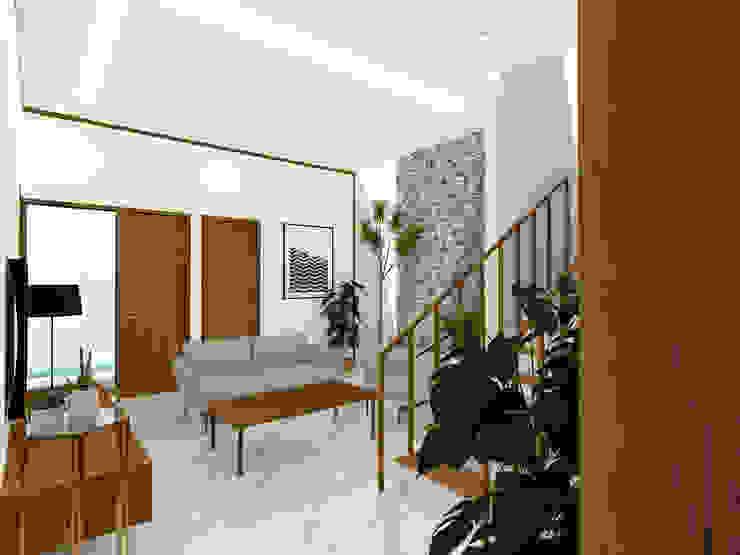 Living Room Ruang Keluarga Tropis Oleh SEKALA Studio Tropis Kayu Wood effect