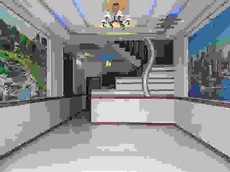 Phòng khách và phòng bếp được thiết kế liền kề với nhau. Phòng khách phong cách châu Á bởi Công ty TNHH TK XD Song Phát Châu Á Đồng / Đồng / Đồng thau