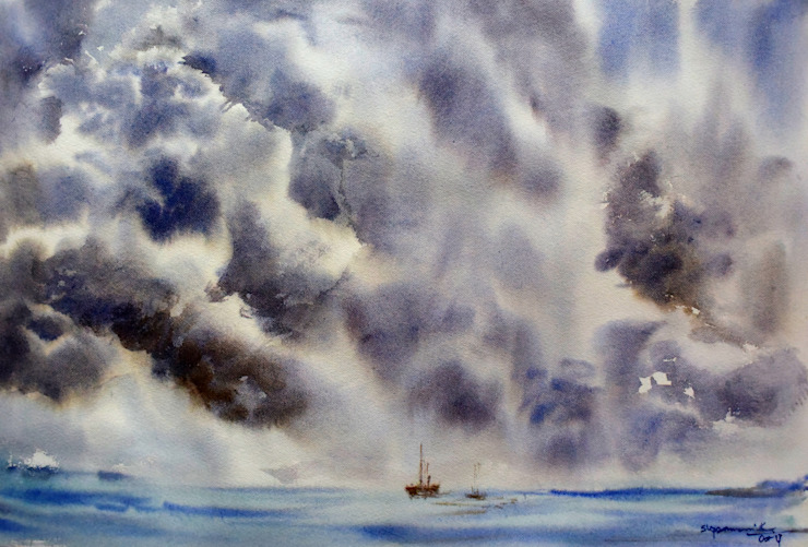 Stormy Sky: asian  by Indian Art Ideas,Asian