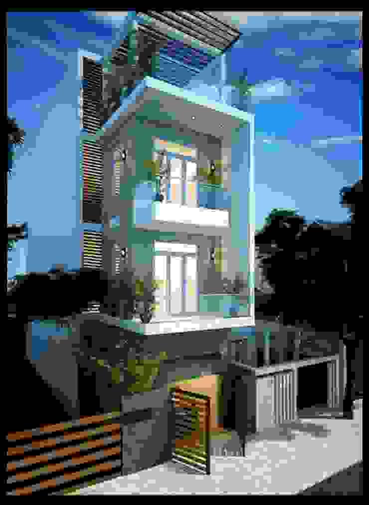 Mặt tiền mẫu nhà đẹp 3 tầng 1 tum diện tích 5x18m bởi Công ty TNHH Xây Dựng TM – DV Song Phát Hiện đại