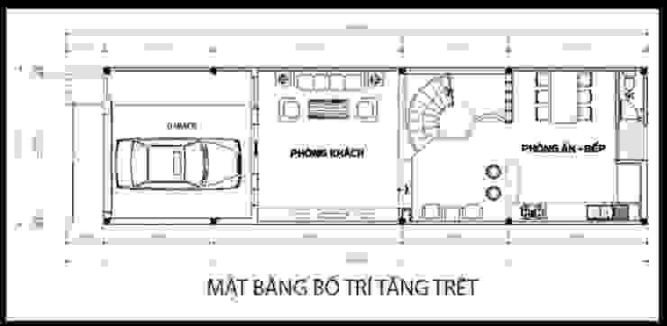 Bản vẽ thiết kế mặt bằng tầng trệt bởi Công ty TNHH Xây Dựng TM – DV Song Phát Hiện đại