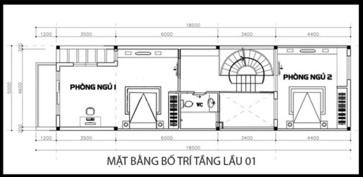 Bản vẽ thiết kế mặt bằng tầng 1 bởi Công ty TNHH Xây Dựng TM – DV Song Phát Hiện đại