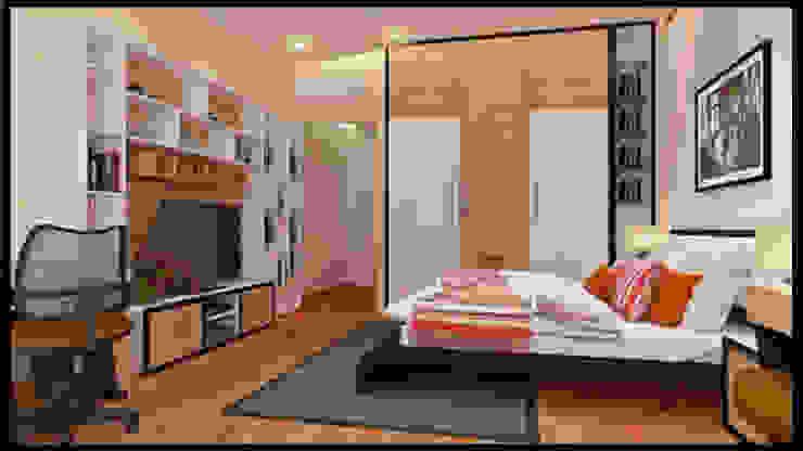 Tư Vấn Thiết Kế Nhà Ống 3 Tầng 1 Tum 5x18m Ở Bình Thạnh Phòng ngủ phong cách hiện đại bởi Công ty TNHH Xây Dựng TM – DV Song Phát Hiện đại