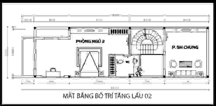 Bản vẽ thiết kế mặt bằng tầng 2 bởi Công ty TNHH Xây Dựng TM – DV Song Phát Hiện đại