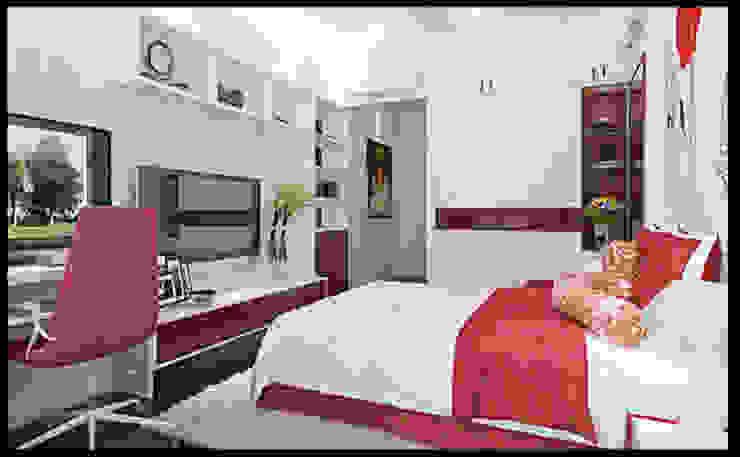 Phòng ngủ con trai thoáng mát với lối ra ban công ngay tiền sảnh Phòng ngủ phong cách hiện đại bởi Công ty TNHH Xây Dựng TM – DV Song Phát Hiện đại