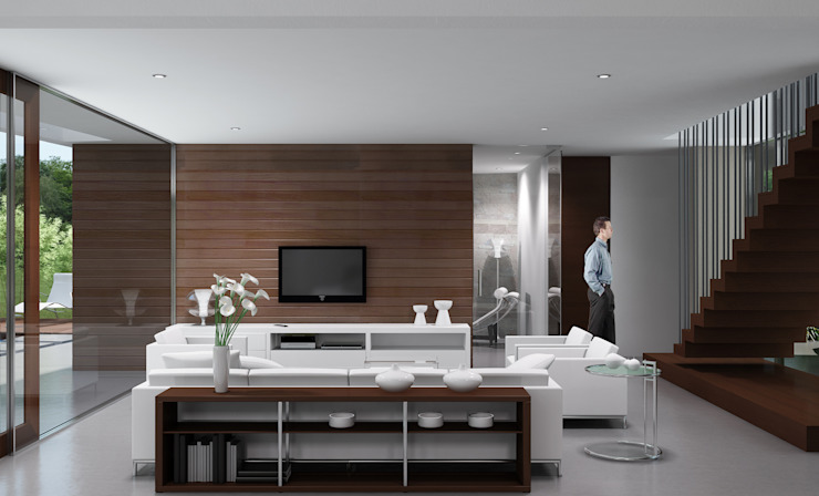 Casa R-R Livings modernos: Ideas, imágenes y decoración de Estudio D3B Arquitectos Moderno Madera Acabado en madera