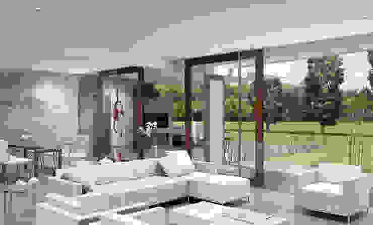 Casa R-R Salones minimalistas de Estudio D3B Arquitectos Minimalista Caliza