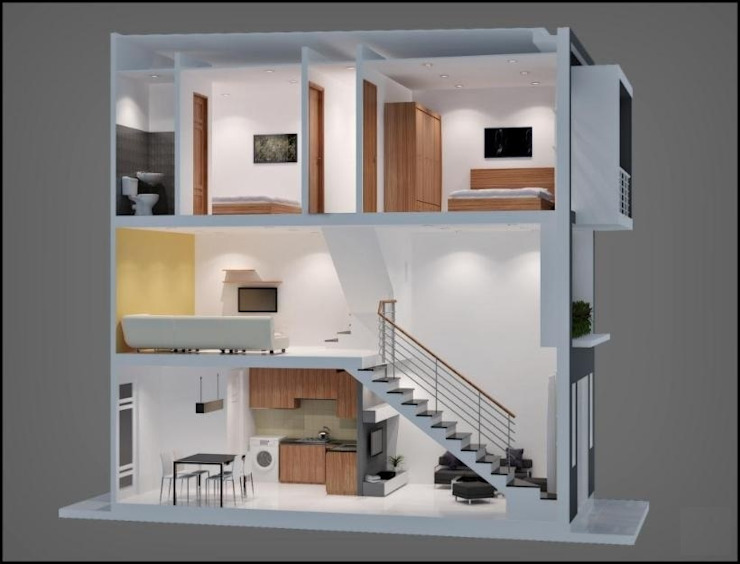 Mẫu Nhà Phố 1 Trệt 1 Lửng 1 Lầu Đẹp Được Ưa Chuộng Năm 2018 bởi Công ty TNHH Xây Dựng TM – DV Song Phát Hiện đại