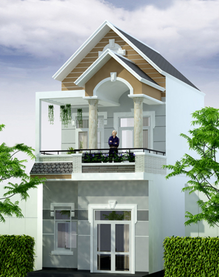 Mẫu mặt tiền nhà phố 1 trệt 1 lửng 1 lầu được ưa chuộng năm 2018 bởi Công ty TNHH Xây Dựng TM – DV Song Phát Hiện đại