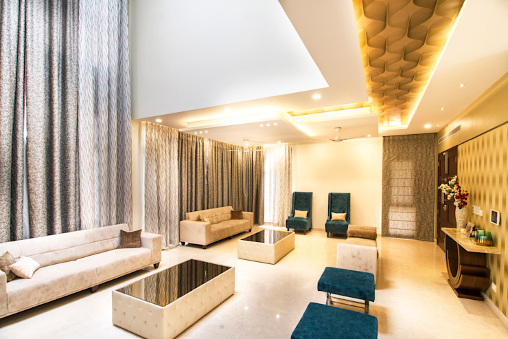 False ceiling with cove lighting Modern living room by homify Modern