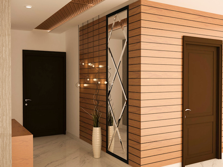 Entry wall paneling Asian style corridor, hallway & stairs by homify Asian