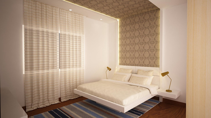 Headboard flowing to ceiling Asian style bedroom by homify Asian