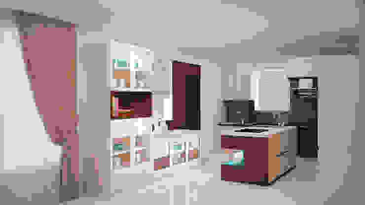 Full storage and island kitchen Modern kitchen by homify Modern
