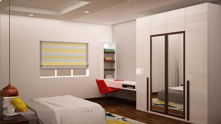 Wardrobe and study homify Modern style bedroom