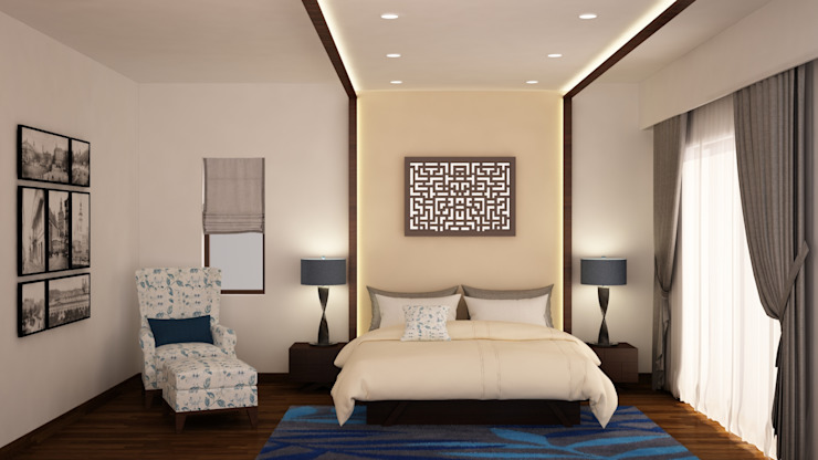 Headboard and ceiling design homify Modern style bedroom