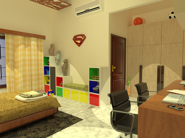 Rahul Chaudhary Residence, Interiors by Samadhan Architects Modern style bedroom by homify Modern MDF
