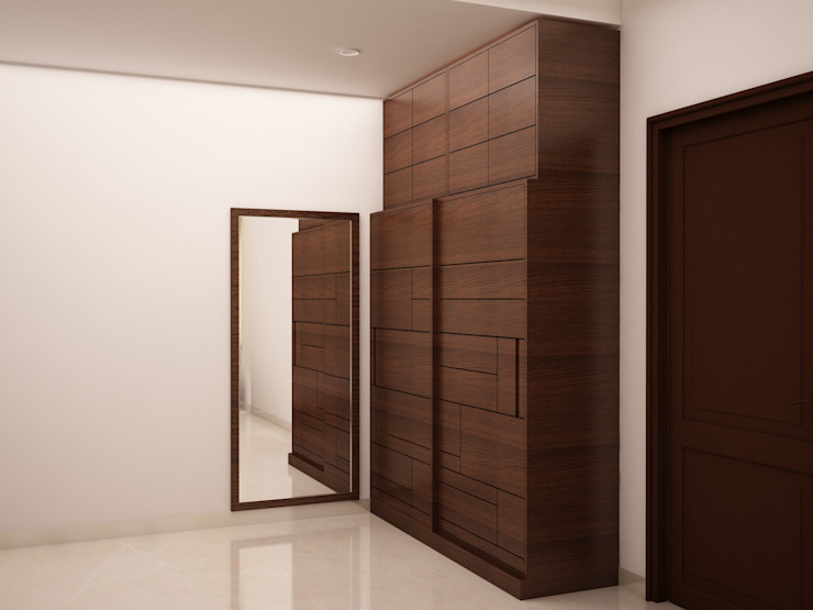 Dressing area wardrobe with full mirror Rustic style dressing room by homify Rustic