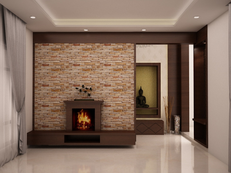 Fire place with TV unit homify Rustic style living room