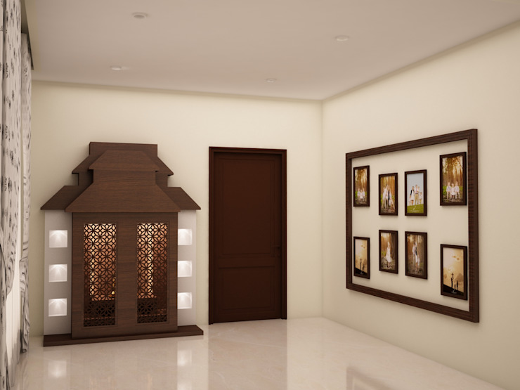 Puja area Rustic style corridor, hallway & stairs by homify Rustic