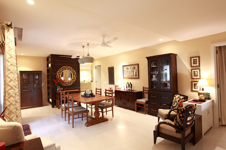 Lotus Apartment:  Dining room by Saloni Narayankar Interiors