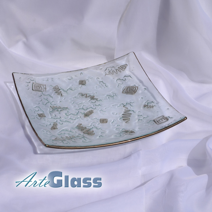 Bowl clear with metal and oldplatinum 30x30 shallow: modern  by ArteGlass, Modern Glass